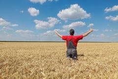 Scena agricola, agricoltore felice nel giacimento di grano Fotografia Stock