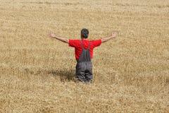 Scena agricola, agricoltore nel giacimento di grano Fotografia Stock Libera da Diritti