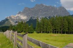 Scena alpina con un portone in priorità alta Fotografie Stock