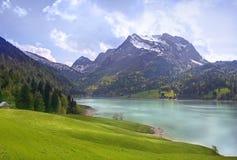 Scena alpina sul lago Immagini Stock Libere da Diritti