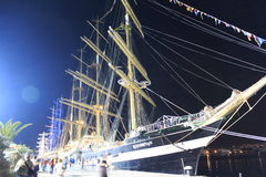 Scena alta di notte del porto di Varna delle navi Immagini Stock
