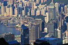 Scena ammucchiata dell'orizzonte di Hong Kong Immagini Stock