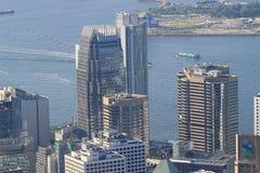 Scena ammucchiata dell'orizzonte di Hong Kong Immagine Stock