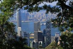 Scena ammucchiata dell'orizzonte di Hong Kong Fotografia Stock Libera da Diritti