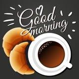 Scena antiquata di mattina: macchina da scrivere antica, tazza di caffè fresco, contratto di affari e penna Illustrazione di vett Fotografia Stock