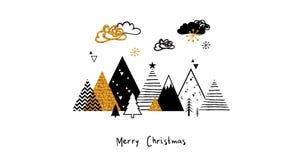 Scena astratta dorata di inverno di natale Fondo del paesaggio di inverno di Natale nello stile scandinavo Vettore astratto immagine stock