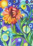 Scena astratta soleggiata del giardino della pittura floreale dell'acquerello Fotografia Stock