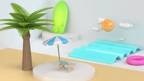 Scena bianca 3d del fumetto di stile della spiaggia astratta del mare rendere immagini stock libere da diritti