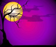 Scena in bianco di notte di Halloween Immagine Stock