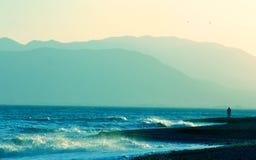 Scena blu-chiaro della spiaggia, litorale andaluso Immagini Stock Libere da Diritti