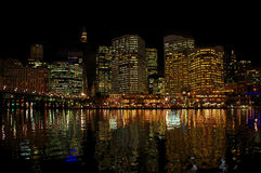 Scena cara di notte del porto Fotografia Stock Libera da Diritti