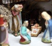 Scena classica di natività con Gesù, Joseph e Maria 2 Fotografia Stock