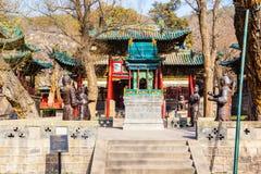 Scena commemorativa del tempio di Jinci (museo). Il terrazzo-Jinrentai delle statue del ferro. Immagini Stock