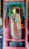 Scena commemorativa del tempio di Jinci (museo). La domestica ha colorato la scultura di argilla al corridoio da santo della madre Fotografia Stock