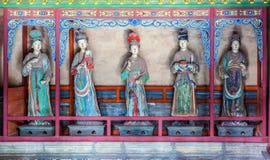 Scena commemorativa del tempio di Jinci (museo). Le domestiche hanno colorato la scultura di argilla al corridoio da santo della m Fotografie Stock