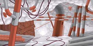 Scena con i tubi ed i cavi, sotterranei. Fotografia Stock Libera da Diritti