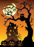 Scena con il palazzo 6 di Halloween royalty illustrazione gratis