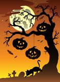 Scena con l'albero 2 di Halloween illustrazione di stock