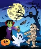 Scena con l'albero 4 di Halloween illustrazione vettoriale