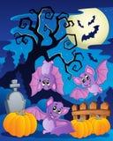Scena con l'albero 5 di Halloween illustrazione vettoriale