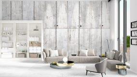 Scena con l'interno nuovissimo nella moda con lo scaffale bianco ed il sofà grigio moderno rappresentazione 3d Disposizione orizz illustrazione di stock