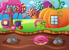 Scena con la casa della zucca ed il fiume del cioccolato illustrazione vettoriale