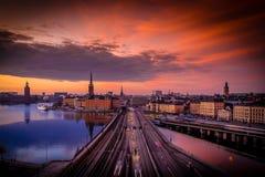 Scena crepuscolare di tramonto di Stoccolma, Svezia Fotografia Stock Libera da Diritti