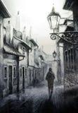 Scena d'annata di Praga di notte, pittura di arte della via fotografie stock