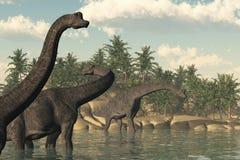 Scena del Brachiosaurus Immagine Stock Libera da Diritti