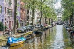 Scena del canale di Amsterdam, Paesi Bassi Fotografia Stock