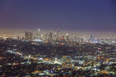 Scena del centro di notte di Los Angeles fotografia stock