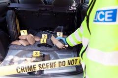 Scena del crimine: Traffico di droga o introdurre di contrabbando immagini stock libere da diritti