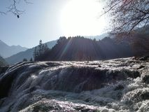 Scena del fiume della neve di inverno Immagine Stock