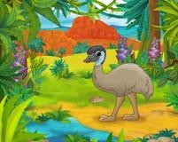 Scena del fumetto - animali selvaggi dell'america - caricatura - emù Immagine Stock