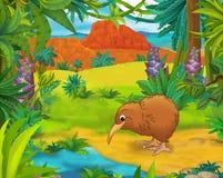 Scena del fumetto - animali selvaggi dell'america - caricatura - kiwi Fotografia Stock Libera da Diritti