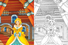 Scena del fumetto con bella principessa che esce dal castello - bella ragazza di manga - con la pagina di coloritura Immagini Stock Libere da Diritti