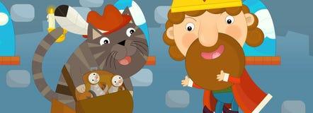 Scena del fumetto con gli uccelli della tenuta del gatto e di re Immagini Stock