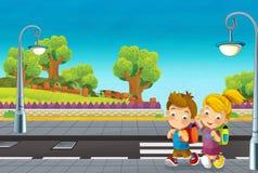 Scena del fumetto con i bambini che camminano sulla via Fotografia Stock Libera da Diritti