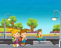 Scena del fumetto con i bambini che camminano sulla via Immagini Stock