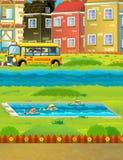 Scena del fumetto con i bambini che nuotano in un addestramento dello stagno Fotografia Stock