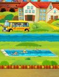 Scena del fumetto con i bambini che nuotano in un addestramento dello stagno Immagine Stock