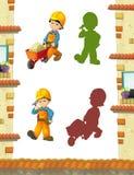 Scena del fumetto con i muratori che fanno alcuni lavori illustrazione di stock
