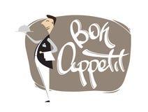 Scena del fumetto con l'iscrizione della mano del cameriere del appetit di Bon Isolato su priorità bassa bianca illustrazione vettoriale