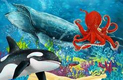 Scena del fumetto con la balena e orca e polipo vicino alla barriera corallina royalty illustrazione gratis