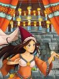 Scena del fumetto con la bella ragazza - principessa nella stanza del castello Fotografie Stock Libere da Diritti