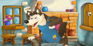 Scena del fumetto con un cattivo lupo nella cucina illustrazione vettoriale