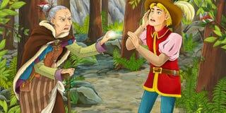 Scena del fumetto con un cavallerizzo che riposa nella foresta Fotografia Stock