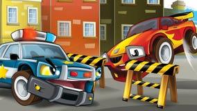 Scena del fumetto dell'inseguimento della polizia Immagini Stock