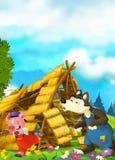 Scena del fumetto della casa che è demolita - soffio del lupo e funzionamento del maiale
