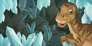 Scena del fumetto della caverna con i grandi cristalli e maiasaura del dinosauro royalty illustrazione gratis